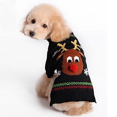 Kat / Hund Gensere / Jul Hundeklær Reinsdyr Svart / Rød Akryl Fiber Kostume For kjæledyr Herre / Dame Jul / Nyttår