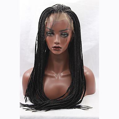 Syntetisk Lace Front Parykker Lige Syntetisk hår Sort Paryk Lang Blonde Front Sort