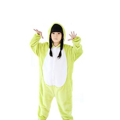 Pijamas Kigurumi Sapo Pijamas Macacão Ocasiões Especiais Lã Polar Verde Cosplay Para Crianças Pijamas Animais desenho animado Dia das