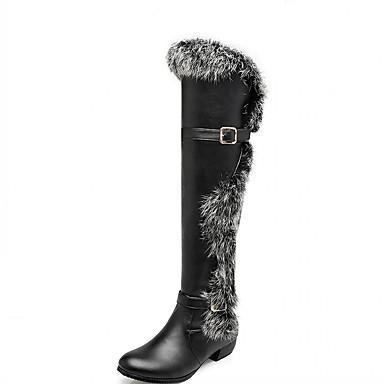 Støvler-laklæder Kunstlæder-Komfort Originale Cowboystøvler Snowboots Basispumps Ridestøvler Modestøvler-Dame-Sort Hvid Beige-Bryllup