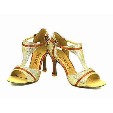 Feminino Latina Salsa Glitter Sandália Salto Profissional Apresentação Fivela Fita Salto Personalizado Preto Prata Vermelho Azul Dourado