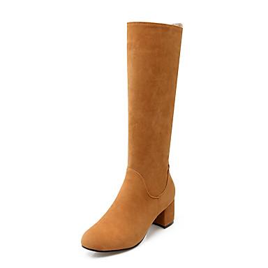 Støvler-Kunstlæder-Modestøvler-Dame-Sort Gul Grå-Fritid Fest/aften-Tyk hæl