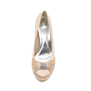 de de Femme compensée Satin 06413918 Chaussures Printemps Strass Hauteur Bleu mariage Bout rond Chaussures Escarpin Basique semelle Eté vq4vwC