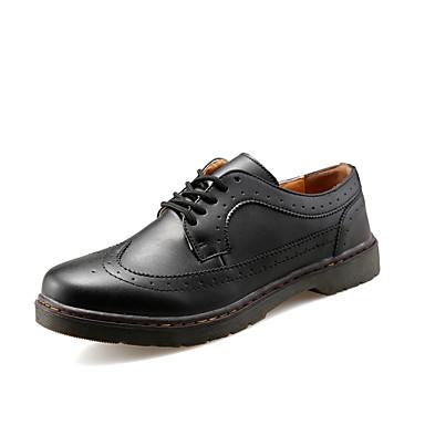 Masculino sapatos Couro Ecológico Primavera Outono Conforto Oxfords Cadarço Para Casual Preto