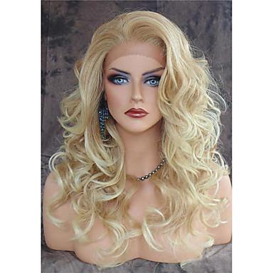 Synthetische Lace Front Perücken Damen Große Wellen Blond Synthetische Haare Hitze Resistent / Natürlicher Haaransatz / Seitenteil Blond Perücke Lang Spitzenfront Blond