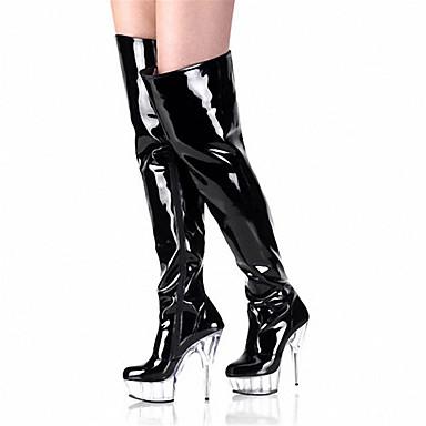 Chaussures Bottes Lumineuses de Chaussures la Plateau club Bottes Automne à Aiguille Talon Chaussures Mode 05289004 Cuir Verni Hiver Femme pn7d46p