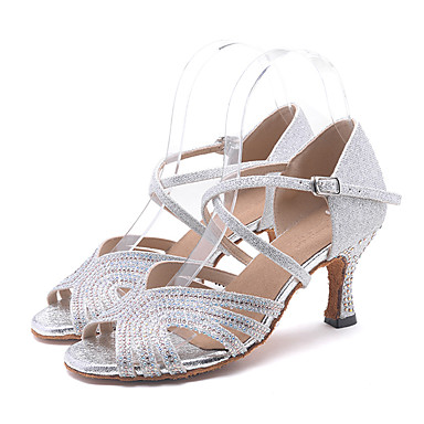 5c0ff2953 Women's Sparkling Glitter Latin Shoes / Salsa Shoes Rhinestone / Sparkling  Glitter / Buckle Sandal / Heel Flared Heel Customizable Pink / Golden /  Light ...
