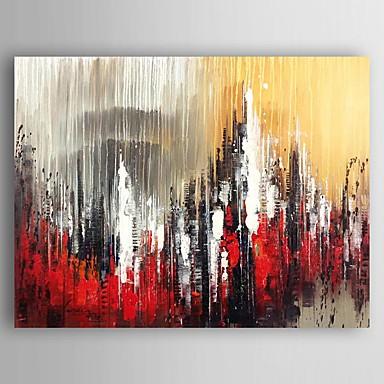 Handgeschilderde Abstract Horizontaal, Modern Kangas Hang-geschilderd olieverfschilderij Huisdecoratie Eén paneel