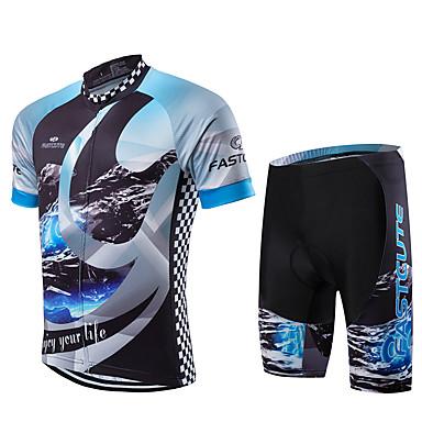 Fastcute Herrn Kurzarm Fahrradtriktot mit Fahrradhosen - Leicht Grün Fahhrad Kleidungs-Sets, Rasche Trocknung, Atmungsaktiv Coolmax® /