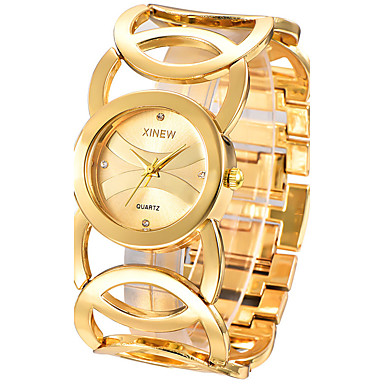 cheap Quartz Watches-Women's Ladies Luxury Watches Bracelet Watch Gold Watch Quartz Stainless Steel Silver / Gold Casual Watch Analog Bangle Fashion Elegant - Gold Black Silver One Year Battery Life / SSUO 377
