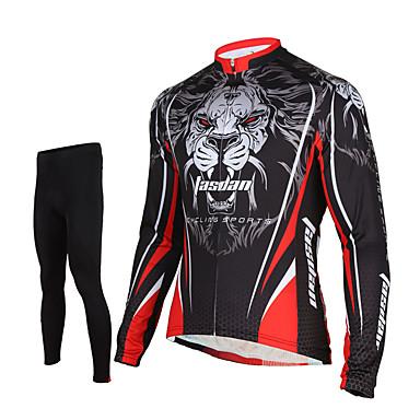 TASDAN Herre Langærmet Cykeltrøje og tights - Sort Cykel Tights Trøje Bukser Tøjsæt, 3D Måtte, Hurtigtørrende, Åndbart, Svedreducerende,