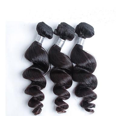 Cabelo Humano Cabelo Malaio Cabelo Humano Ondulado Ondulação Larga Extensões de cabelo 3 Peças Preto