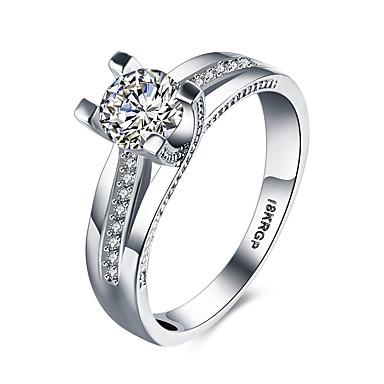 Dame Band Ring Statement Ring - Sølv, Zirkonium, Kubisk Zirkonium Hjerte, Kjærlighed Mote 6 / 7 / 8 / 9 Hvit Til Bryllup Fest jubileum / Fuskediamant