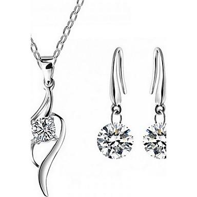 Mujer Cristal Conjunto de joyas - Plata de ley, Zirconio, Zirconia Cúbica Moda Incluir Collar / pendientes Blanco Para Fiesta / Diario / Casual / Pendientes / Collare