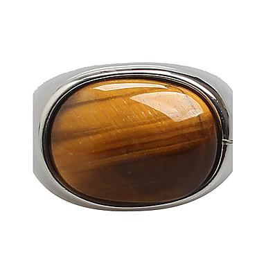 Heren Statement Ring - Titanium Staal Gepersonaliseerde, Vintage, Modieus 7 / 8 / 9 Zwart / Khaki Voor Dagelijks / Causaal
