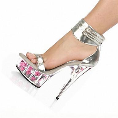 Mujer Cuero Patentado Verano / Otoño Zapatos del club Tacones Tacón Stiletto / Plataforma / Tacón de cristal Flor Plata / Rojo / Boda / Fiesta y Noche / Fiesta y Noche