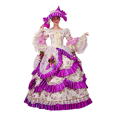 Viktorianisch Rokoko Kostüm Damen Kleid Maskerade Party Kostüme Fuchsia Vintage Cosplay Spitze Baumwolle Normallänge