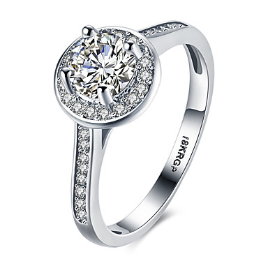 Dame Yndig Sølv / Zirkonium / Kvadratisk Zirconium Statement Ring / Band Ring - Cirkelformet / Geometrisk form Personaliseret / Luksus /
