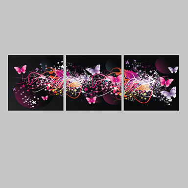 E-HOME® Stretched LED Canvas Print Art The Butterfly Flash effect LED Set of 3