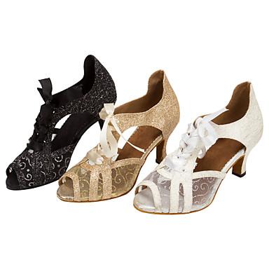 Dames Latin Salsa Glitter Kunstleer Sandalen Hakken Voor Binnen Professioneel Sprankelend glitter Veters Speciale hak Wit Zwart Gouden 1