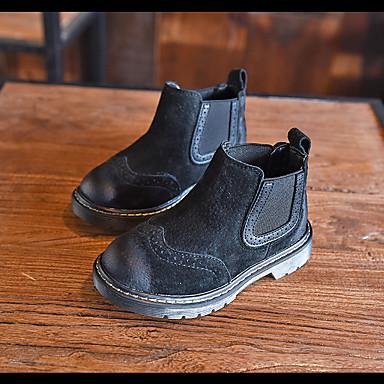 Støvler-Ruskind-Combat-støvler-Unisex-Sort / Khaki-Udendørs-Lav hæl