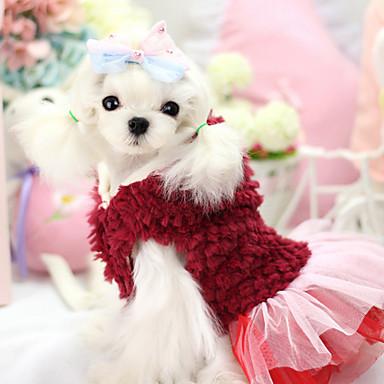 Hund Hættetrøjer Kjoler Hundetøj Åndbart Hold Varm Mode Blomster / botanik Lilla Rød Kostume For kæledyr