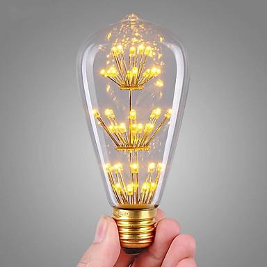 abordables Ampoules de décoration-1pc 3 W Ampoules à Filament LED 200 lm E26 / E27 ST64 47 Perles LED COB Décorative Étoilé Décoration de mariage de Noël Blanc Chaud 220-240 V / RoHs