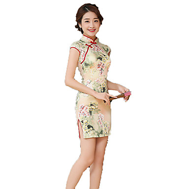 Traditionell Damen Kleid A-Linie Kleid Pencil Kleid Cosplay Blumen Kurzarm Mittlerer Länge