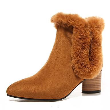 Støvler-Kunstlæder-Ankelstøvler / Spids tå / Modestøvler-Dame-Sort / Gul / Grå-Kontor / Formelt / Hverdag-Tyk hæl