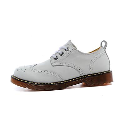 Feminino Sapatos Couro Primavera Conforto Oxfords Sem Salto para Casual Branco Preto Marron