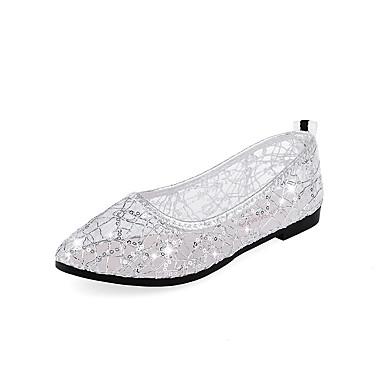 Mulheres Sapatos Microfibra Verão Conforto Rasos Sem Salto para Casual Preto Prata Rosa claro Dourado