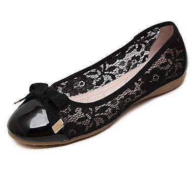 Mulheres Sapatos Couro Ecológico Primavera Verão Rasos Sem Salto Laço para Casual Preto Amêndoa