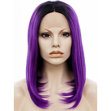 Syntetisk Lace Front Parykker Lige Natural Hairline Mørke hårrødder Dame Blonde Front Blonde Paryk Syntetisk hår