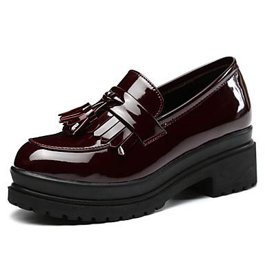 Feminino Sapatos Microfibra Primavera Outono Mocassins e Slip-Ons Salto Baixo Para Casual Preto Vinho