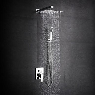 Moderne Duschsystem Regendusche Verbreitete Handdusche inklusive Keramisches Ventil Ein Loch Zwei Griffe Ein Loch Chrom, Duscharmaturen