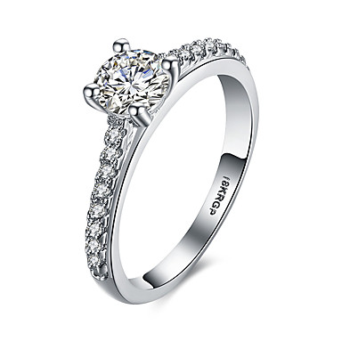 Mulheres Anel de declaração Anel de banda Branco Pedras preciosas sintéticas Prata de Lei Zircão Zircônia Cubica Imitações de Diamante