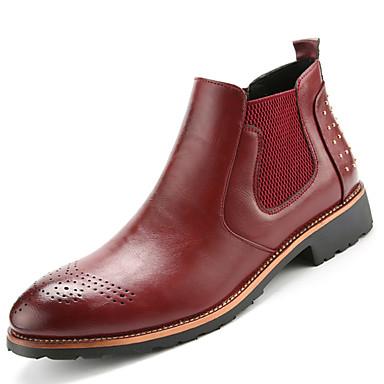 Masculino sapatos Couro Primavera Verão Outono Inverno Curta/Ankle Botas da Moda Botas Cadarço Para Casual Preto Amarelo Marron Vinho