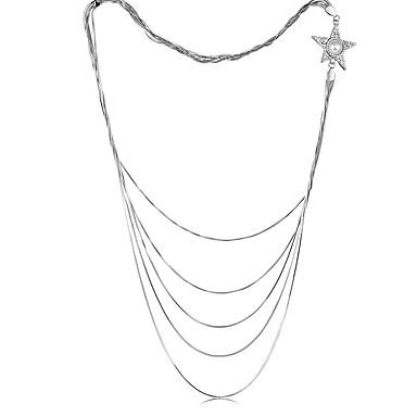 Dames gelaagde Kettingen Sterling zilver Verzilverd Legering Kwasten Modieus Wit Sieraden Feest Dagelijks Causaal 1 stuks