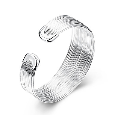 abordables Bracelet-Manchettes Bracelets Femme Argent sterling Plaqué argent Gros Fantaisie dames Européen Style Simple Mode Bracelet Bijoux Blanc Forme de Ligne pour Soirée Quotidien Décontracté