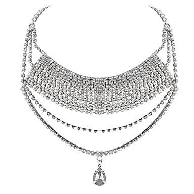 Feminino Colares com Pendentes Caído Strass Chapeado Dourado imitação de diamante Liga Borlas Moda Multi Camadas Europeu Branco Jóias Para