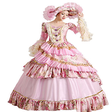 Badpak/Jurken Gothic Klassiek en Tradtioneel Lolita Steampunk® Cosplay Lolitajurk Bloemen  Lange Lengte Kleding Hoed Voor Kant Katoen