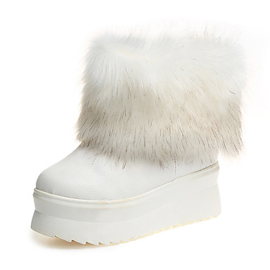 Støvler-Læder-Snowboots-Dame-Sort Hvid Guld-Udendørs Fritid-Flad hæl