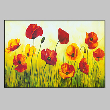 Oil Painting Hand Painted - Floral / Botanical European Style Modern Canvas