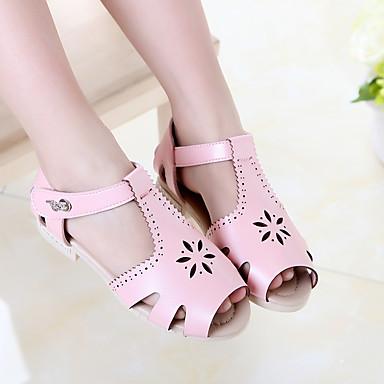 Sandaler-PUPige-Hvid Sort Lys pink-Fritid-Flad hæl