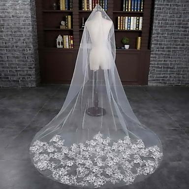 Einschichtig Schnittkante Hochzeitsschleier Kapellen Schleier Mit Spitze Tüll