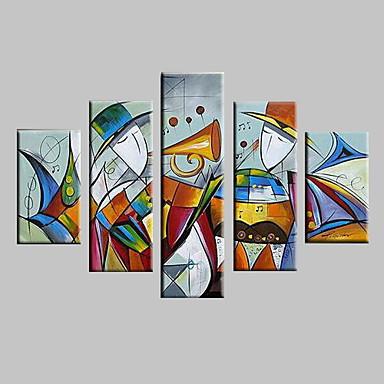 hesapli Tablolar-Hang-Boyalı Yağlıboya Resim El-Boyalı - Soyut Manzara Modern Çerçeve ile birlikte / Beş Panelli / Gerilmiş kanvas