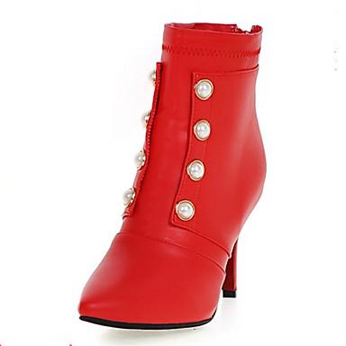 Støvler-laklæder Kunstlæder-Komfort Combat-støvler Ankelstøvler Basispumps Ridestøvler Modestøvler-Dame-Sort Rød Hvid-Kontor Formelt