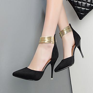 Mulheres Sapatos Couro Ecológico Primavera / Verão / Outono Conforto Saltos Salto Agulha Branco / Preto