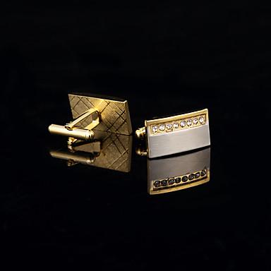 Dourado Botões de Punho Cobre / Strass Caixas de presente e Bolsas / Fashion Homens Jóias de fantasia Para Casamento / Festa / Diário