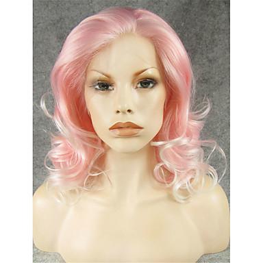 Vrouw Synthetische pruiken Kanten Voorkant Krullend Roze Natuurlijke pruik Kostuumpruiken
